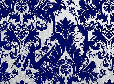 窗帘欧式花纹素材蓝色
